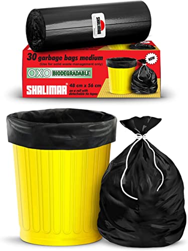 Shalimar Premium OXO - Biodegradable Garbage Bags (Medium) Size 48 cm x 56 cm 4 Rolls (120 Bags) ( Black Color )