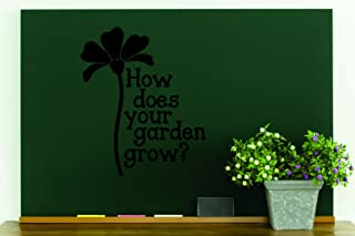 """Design with Vinyl RAD 879 3 How Does Your Garden Grow Flower Quote Wall Decal, Black, 20 x 30"""""""