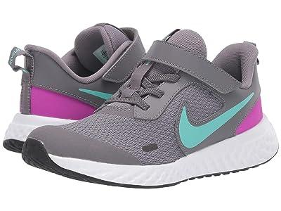 Nike Kids Revolution 5 (Little Kid) (Gunsmoke/Aurora Green/Hyper Violet) Girls Shoes