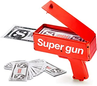 Sopu Make it Rain Money Gun Paper Playing Spary Money Toy Gun, Prop Money Gun with 100 Pcs Play Money Cash Gun Party Suppl...