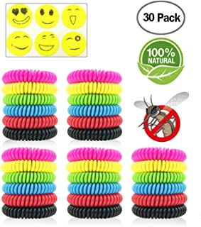 Sumpo Mosquito Repellent Bracelets 30 Pack, DEET-Free & Non-Toxic Waterproof Wristbands, Pest Bug Control Bands for Kids and Adults Outdoor Camping Fishing Hiking
