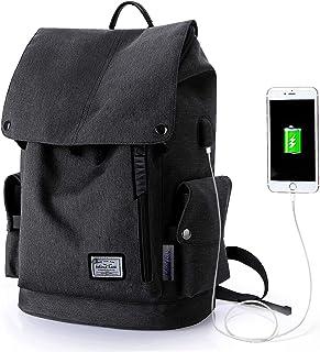 WindTook USB Anschluss Laptop Rucksack Damen Herren Daypack Schulrucksack für 15,6 Zoll Notebook, Wasserabweisend, 20L, 30 x 17 x 45cm, Schwarz