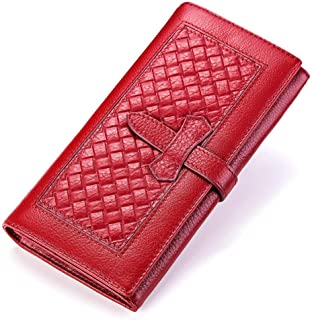 New Lady's Real Cowhide Purse Woven Pattern Fashion Handbag with Large Capacity Small Purse (Color : Red, Size : S)