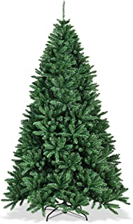 Goplus Artificial Christmas Tree, Unlit Hinged Douglas Tree, Easy Assembly/with Solid Metal Stand, Xmas Spruce for Indoor and Outdoor (7.5ft)