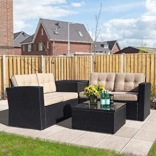Super Patio Outdoor Furniture, 6 Piece All-Weather Black PE Wicker Sectional Sofa with Beige Cushions