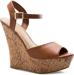 Women's Open Toe High Wedge Platform Heel Wood Decoration Flip Flop Slipper Shoes Sandals
