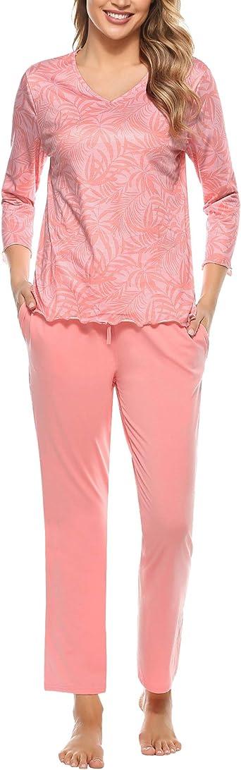 Irevial Pijamas para Mujer Invierno,Conjunto de Pijamas de algodón,cálidos Camiseta de Manga Larga y Pantalones Larga con Bolsillos Ropa de Dormir 2 ...