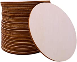 Unfinished Wood Circle 30 PCS Round Slices 4-Inch Diameter Natural Rustic Wooden Cutout for Home Decoration DIY Wood Craft Supplies Coasters for Painting WritingPoplar Plywood 0.1 Inch Thick