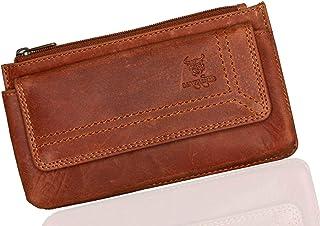 MATADOR MATADOR Echt Leder Universal Handy-Tasche Holster Gürteltasche Klettverschluss Quer für Handys bis 6,9 Zoll inkl. Geschenk-Box Antik Braun