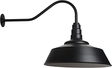 Large Barn Lighting Dome and Gooseneck in Matte Black - Outdoor Use