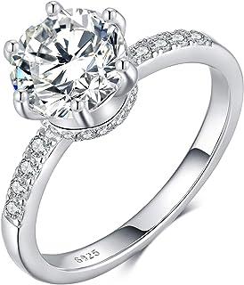 كينجز 1.5 قيراط جولة رائعة مكعب زركونيا خاتم الخطوبة ، 925 فضة الاسترليني خواتم الزفاف للنساء ، الحجم 5 إلى 10