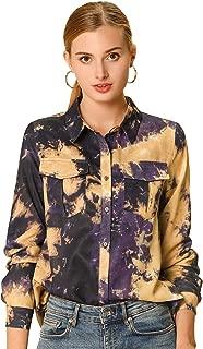 Allegra K Women's Casual Long Sleeves Button Up Tie Dye Shirt