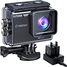 【進化版4K/50FPS】Crosstourアクションカメラ 4K 20MP解像度 「バッテリー充電器付属」Wi-Fi 40M防水 水中カメラ 6軸EIS手ブレ補正 タイムラプス ループ録画 連写 スロモーション2つ1350mAhバッテリー U...