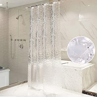 OTraki シャワーカーテン 透明 120 x 180cm 防カビ 防水 重り付き 浴室カーテン 目隠し 北欧 アイデアグッズ リング付属 取付簡単 風呂カーテン 間仕切り クリア 3D 1.2メートル 清潔感 ユニットバス プライバシー保護