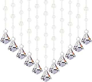 Fushing 5Pcs Crystal Garland, Crysal Bead Strands Curtains for Door, Window, Screen, Divider, Home, Party, Wedding, Christmas Decoration(6'', Clear)