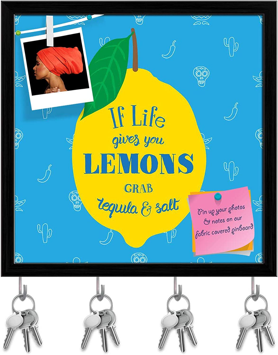 Artzfolio If Life Gives You Lemons Grab Tequila & Salt D2 Key Holder Hooks   Notice Pin Board   Black Frame 20 X 20Inch