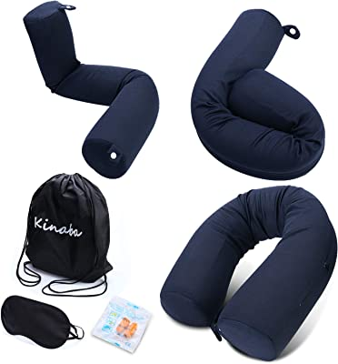 Kinaba Twist Memory Foam Travel Pillow Bendable for Travelling on Airplane,Bus,Train,Office or at Home (Navy)