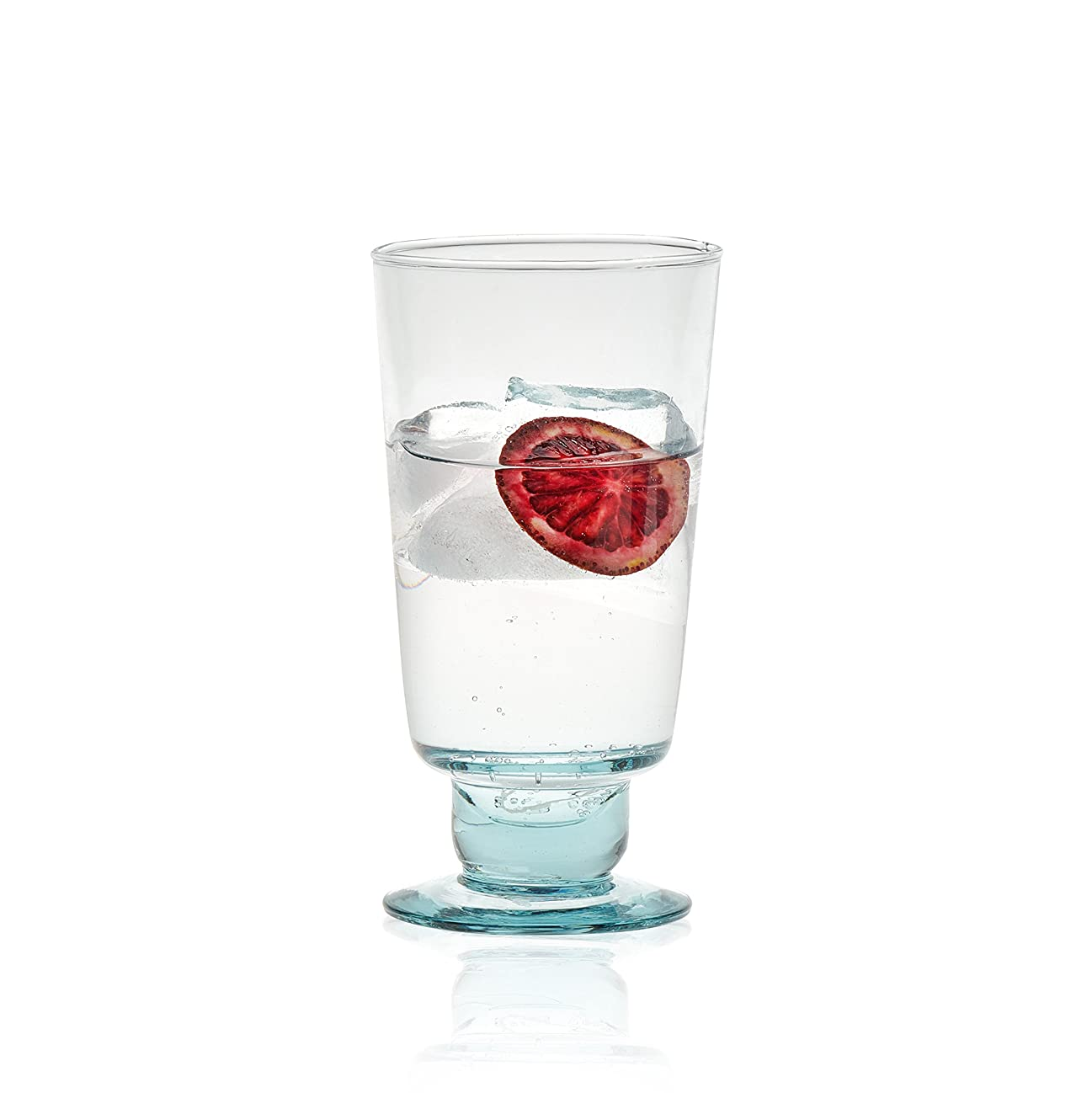 寛大なコンパニオン更新するPrologue LunaリサイクルガラスGobletセット、4-12オンスGoblet、メガネ、ハンドメイドのメキシコ鉛フリー、4ピース