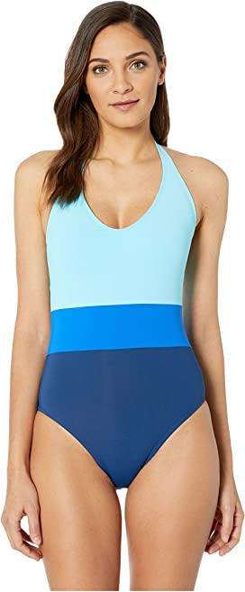 1d8df934512f3 Tommy Bahama Breton Stripe High-Neck One-Piece Swimsuit at Zappos.com