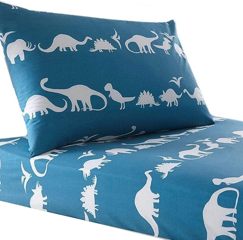 Lausonhouse Cotton Sheet Set 100 Cotton Dinosaur Print Sheet Set For Kids Bedding Full