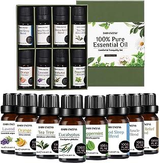DAISY ENCENS Essential Oil Set, Top 8 Essential Oils for Aromatherapy Diffuser Lavender, Tea Tree, Peppermint, Orange, Euc...