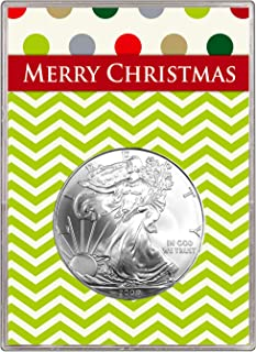 2009 Silver Eagle In Merry Christmas Gift Holder $1 Brilliant Uncirculated