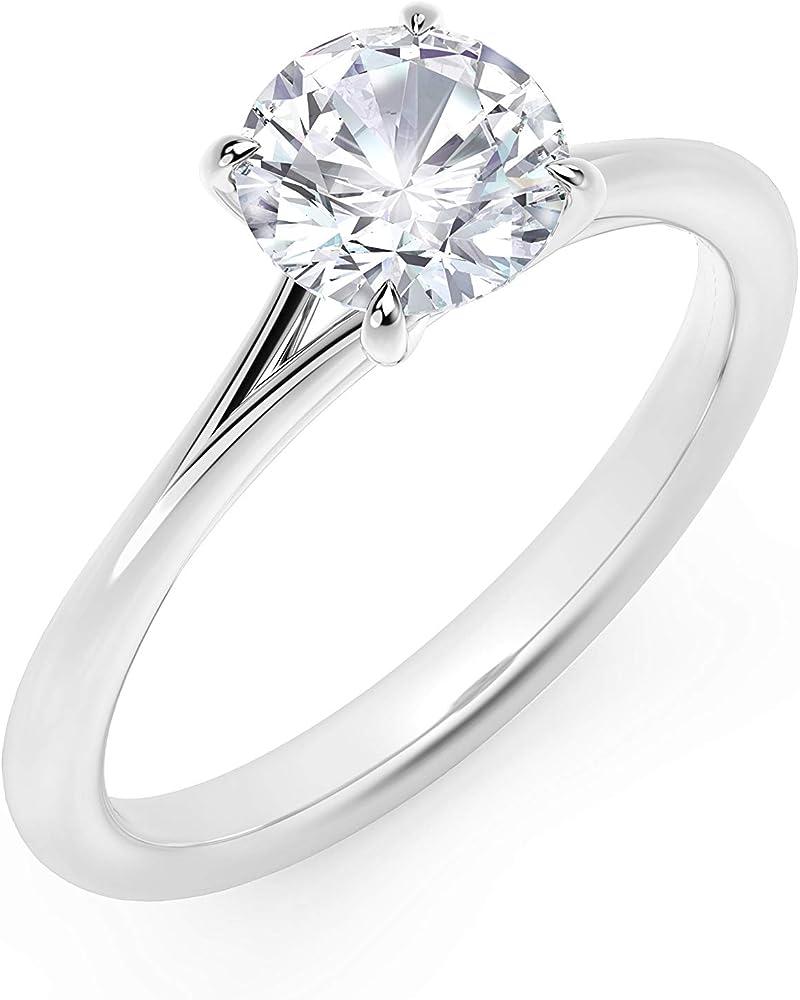 Scermino gioielli anello solitario in oro bianco : diamante naturale da 0,50 carati certificato ASOB3-DVS1050