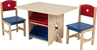 KidKraft- Ensemble Table et 2 Chaises en Bois Etoile 4 Bacs de Rangement, Chambre Enfant, 26912, Rouge et Bleu