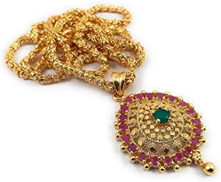c3e7370416 AFJ GOLD 1 Gram Micro Gold Plated Fashion Jewellery South Indian  Traditional Handcrafted Ruby Emerald Dollar