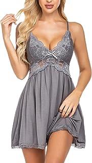 Avidlove Women Babydoll Nightgown Chemises Lace Modal Sleepwear V-Neck Full Slip Sleep Dress
