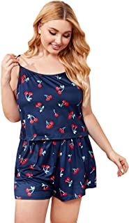 Floerns Women's Summer Tropical Print Cami Sleepwear Two Piece Pajama Set