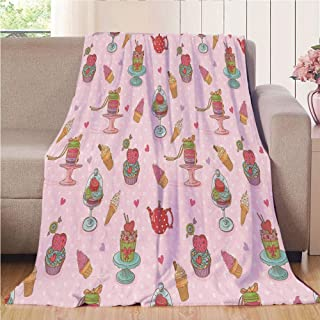 Blanket Comfort Warmth Soft Air Conditioning Easy Care Machine Wash House,Ice Cream Decor,Retro Cupcakes Teapots Candies Cookies on Polka Dots Vintage Kitchen Print,Multicolor,47.25