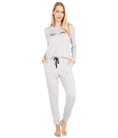 Kate Spade New York Brushed Sweater Knit Pajama Set (Printed Heather Grey 1) Women