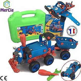 MerCie Bloques de construcción 6 en 1 | 130 Piezas para construirte un Tren, Auto, avión, helicóptero y Robot| Juguete de ingeniería para niños 5 6 7 8 9 10+ años | Gran Regalo para niños y niñas
