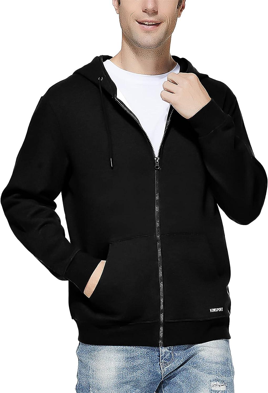 KOWSPORT Men's Full Zip Hoodie Inside Max 51% OFF Casual Fleece Brushed Virginia Beach Mall Soft