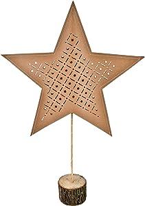Stella di carta su base in legno – 15 LED – Stella di Natale lampada da tavolo decorazione stella