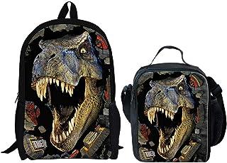2 Piece 3D Dinosaur Backpack Set Boys School Bag Bookbag with Lunch Bag