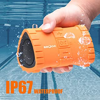 EBODA Portable Bluetooth Speaker, IP67 Waterproof Portable Wireless Speaker,6W and Stereo Sound, Built-in Mic, Hands-Free Calls, 2000mAh Battery, 24H Playtime for Pool, Beach, Hiking, Camping- Orange