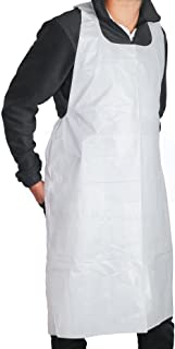 MT Products Disposable White Heavy Weight Plastic/Poly Apron 46 inches x 28 inches - 2 Mil - Perfect for Cooking and Arts n` Crafts (50 Pieces)