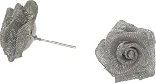 Women's Silver Plated Mesh Rose Design Stud - .925 Sterling Silver Post Earrings