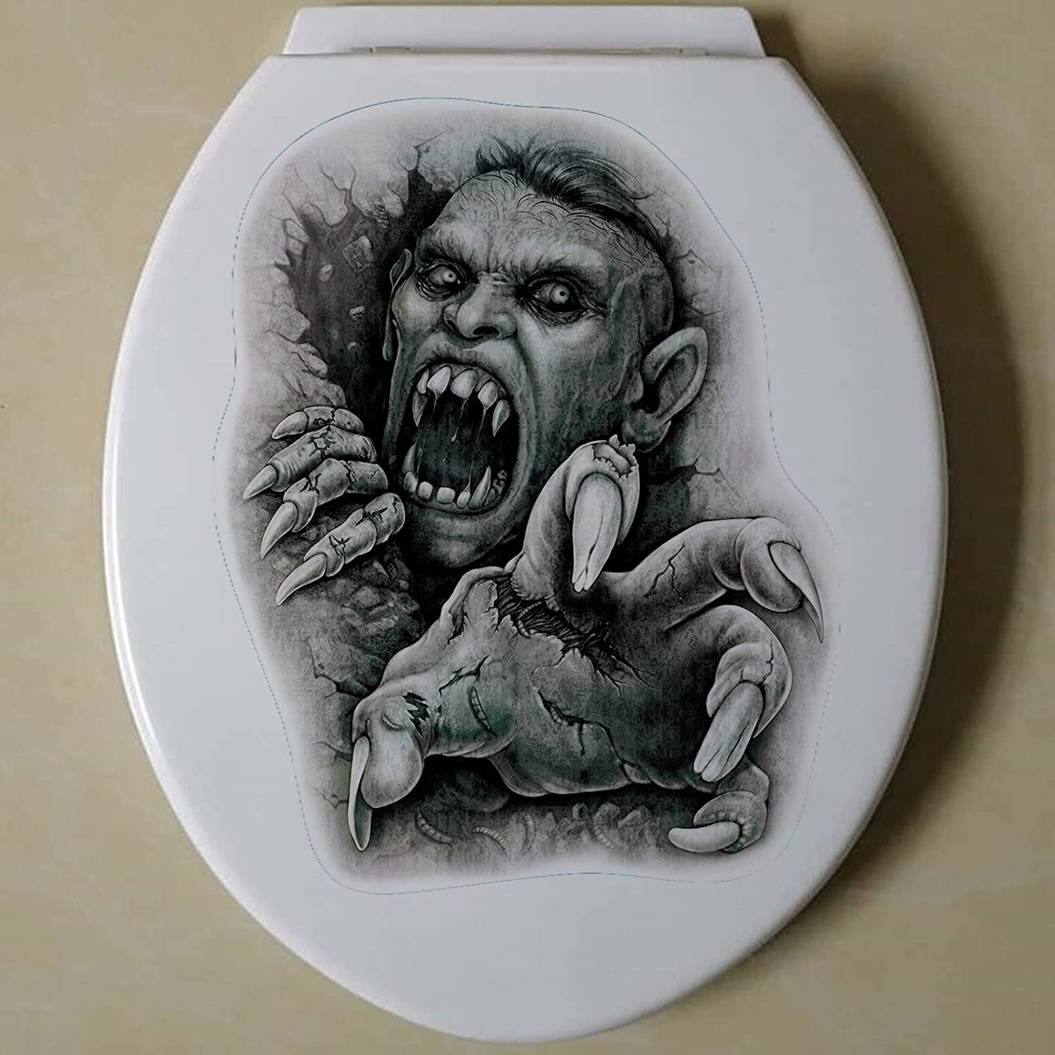 New Shipping Free Shipping Halloween Punk Rock Toilet Lid Horrible Max 58% OFF Decals Static Electricit