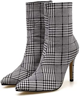 Womens Thin High Heel Platform Ankle Boot Sexy Pointed Toe Cotton Fabic Plaid Zipper Up Rubber Sole Party Dress Shoes