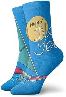 Hombres Mujeres Novedad Divertido Crazy Crew Calcetín Navidad Papá Noel Windsurf Impreso Deporte Calcetines deportivos Calcetines personalizados de regalo