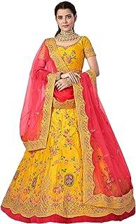 أصفر هندي لحفل الزفاف الاستقبال للعروس غاغرا آرت الحرير تنورة Lehenga Choli Dupatta تنورة 6229