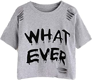 SheIn Women's Casual Letter Print Ripped Short Sleeve Crop Tee Top T-Shirt