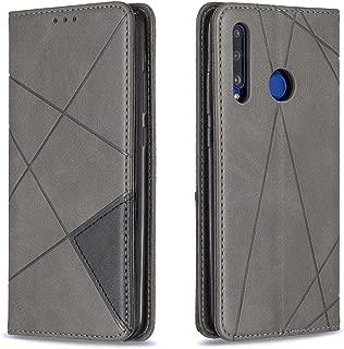 携帯電話レザーケース Huawei P Smart 2019 / Honor 10i(Honor 20 lite)のホルダーとカードスロットを備えた菱形テクスチャ水平フリップ磁気レザーケース レザーケース (色 : Grey)
