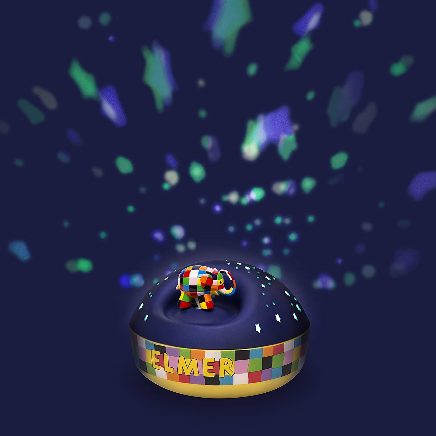 Trousselier Night light   projector of stars   musical box with redating Elmer, the patchwork elephant