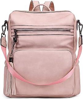 CLUCI Rucksack für Damen, modische, große Leder-Designer-Reise-Schultertasche mit Quaste, Pink (Zweifarbiges Rosa), Large