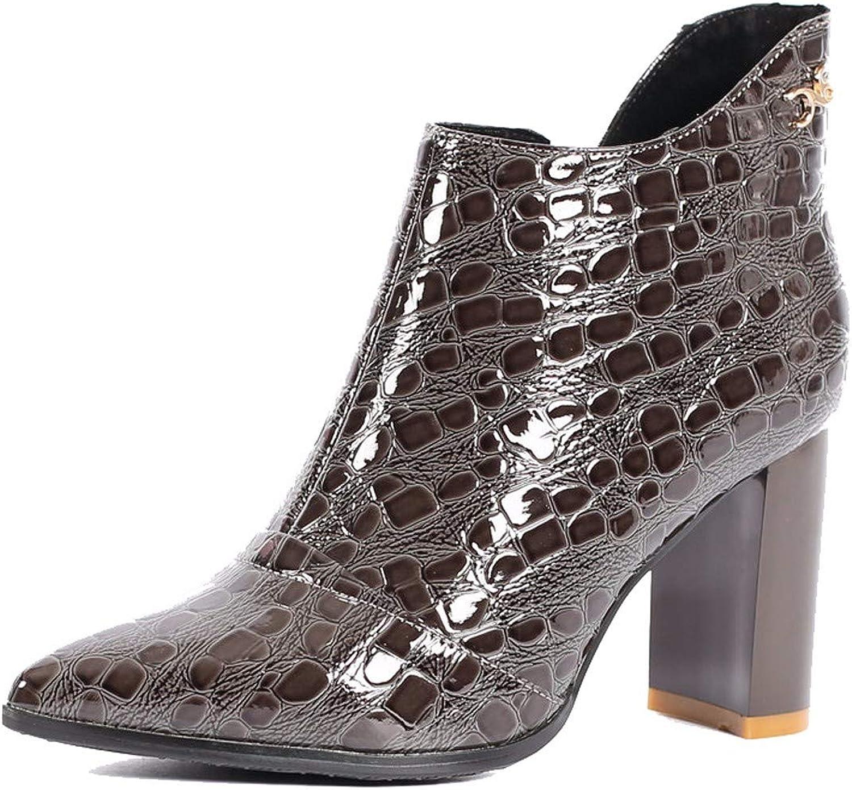 LBTSQ-Fashion Damenschuhe Braune Lack mit der Prägung Pin Hochhackigen 8.8Cm 8.8Cm 8.8Cm Kurze Stiefel Baumwolle und Martin Stiefel Pumps.  dfb3e9