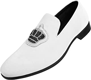 Crown Velvet Men's Slip-On Shoes with Jewelry Crown Piece Dress Shoes for Men Velvet Formal Loafers for Men The Original Smoking Men Tuxedo Dress Shoes